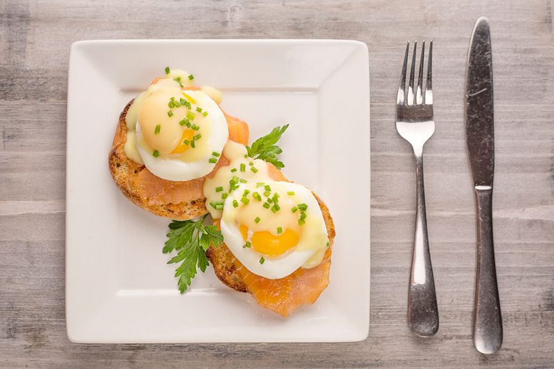 Smoked salmon eggs benedict made with J. Willy Krauch & Sons salmon