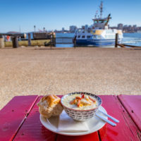 evan's chowder with ferry background