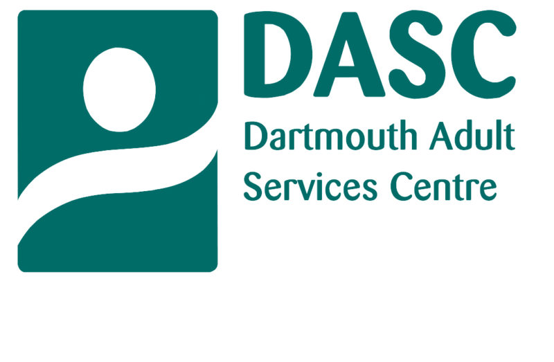 Photo of the logo for DASC - Dartmouth Adult Services Centre. The logo has a white background, while the font and logo image are a teal colour.